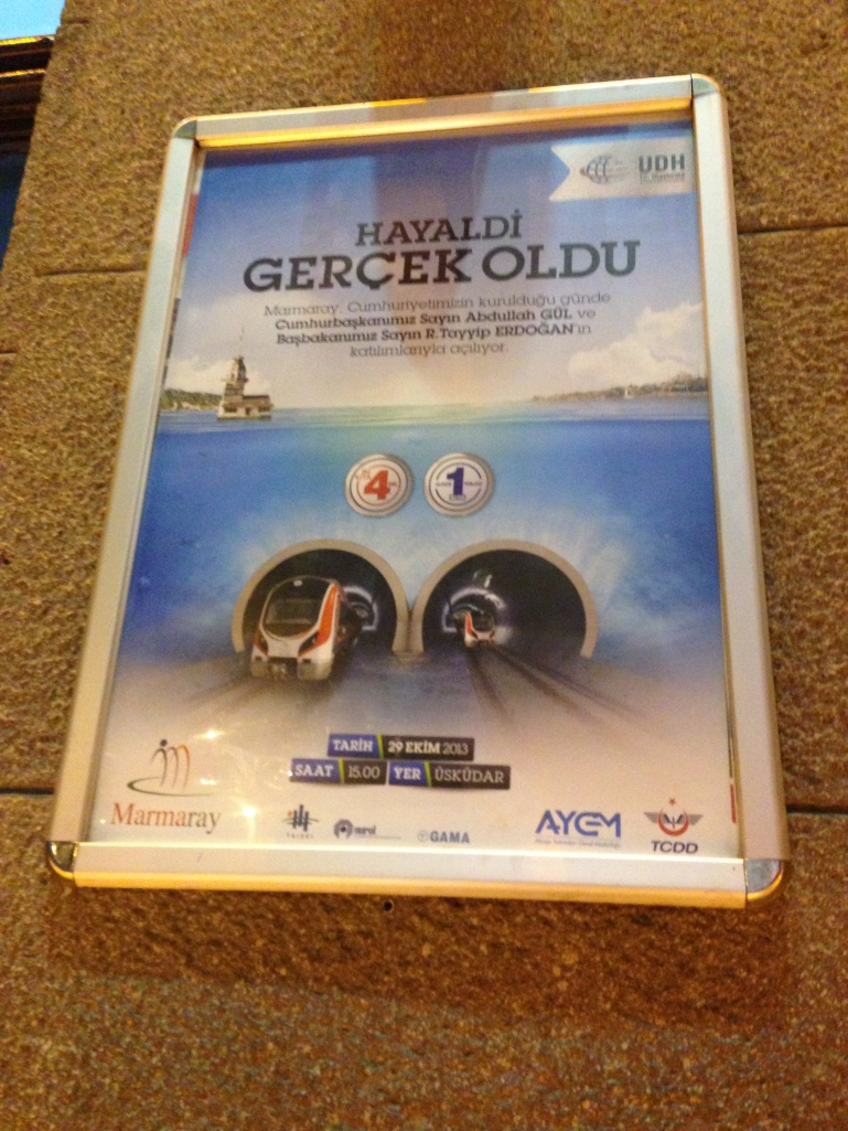 a flier announcing the opening of the Marmaray at the train station in Ankara