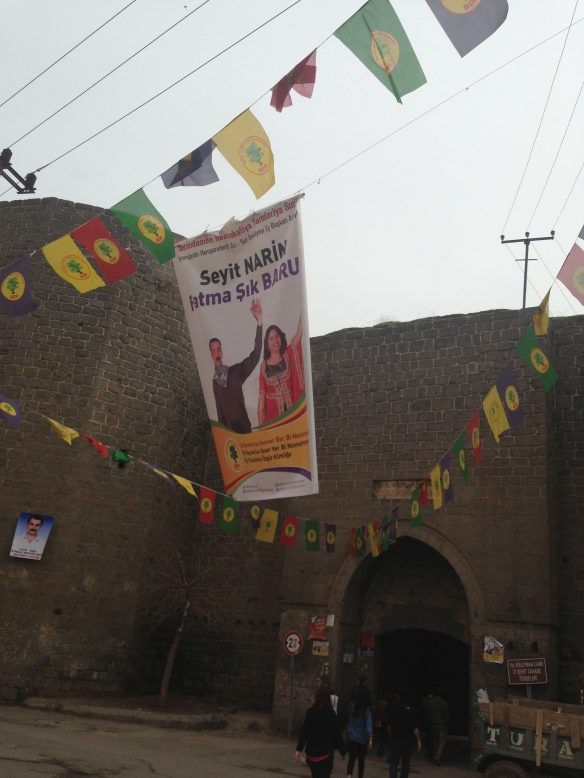 advertisements for the BDP (Peace and Democracy Party, the biggest Kurdish party) near one of Diyarbakir's famous city walls