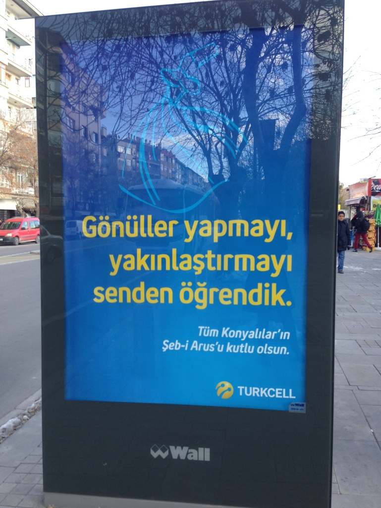 Telecommunications megalith Turkcell's billboard, wishing a blessed celebration to the residents of Konya